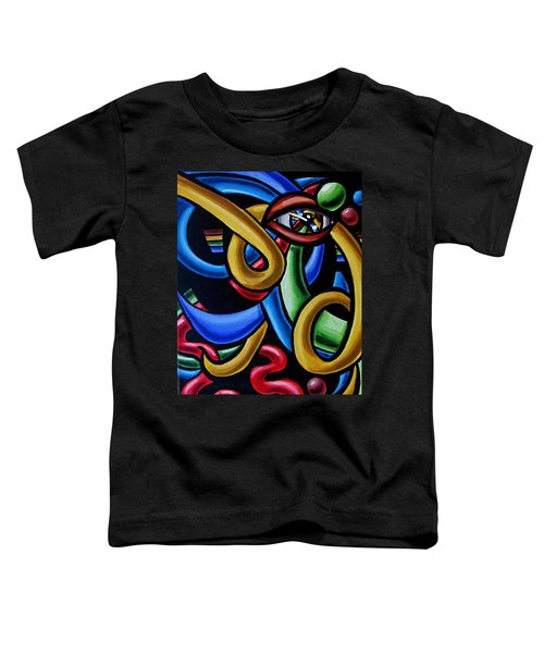 Colorful Illusion Optical Eye Art Painting Chromatic Art - Multicolor Chromatic Energy Flow Art  Toddler T-Shirt