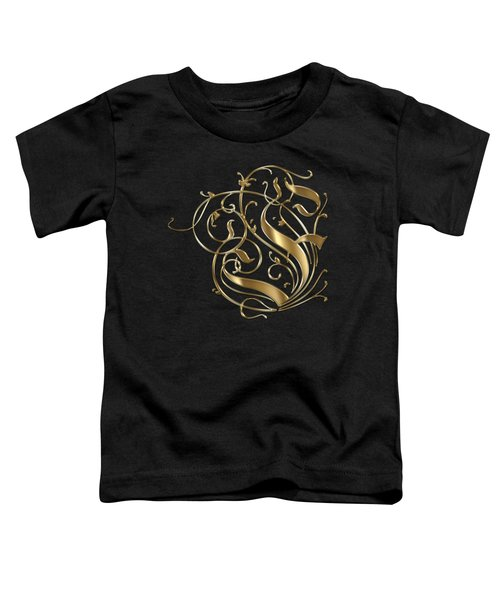 F Ornamental Letter Gold Typography Toddler T-Shirt