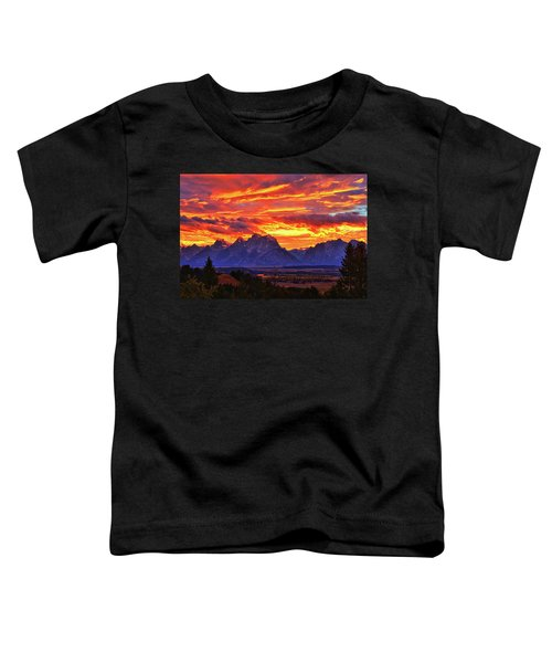 Toddler T-Shirt featuring the photograph Fire In The Teton Sky by Greg Norrell