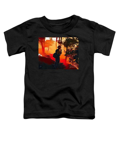 Firefighter On White Draw Fire Toddler T-Shirt
