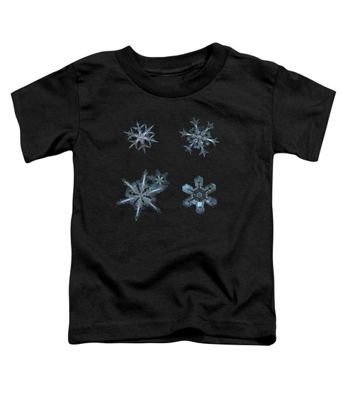 Five Snowflakes On Black 3 Toddler T-Shirt