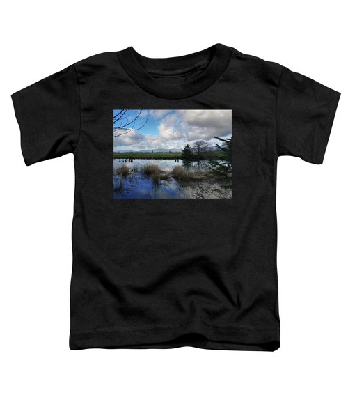 Flooding River, Field And Clouds Toddler T-Shirt