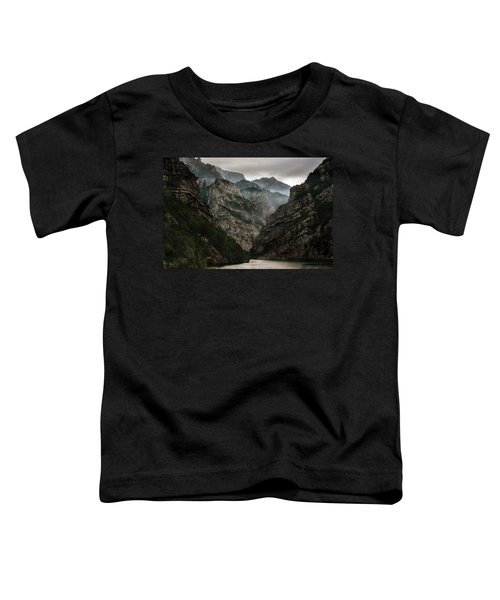 Toddler T-Shirt featuring the photograph Foggy Mountains Over Neretva Gorge by Jaroslaw Blaminsky