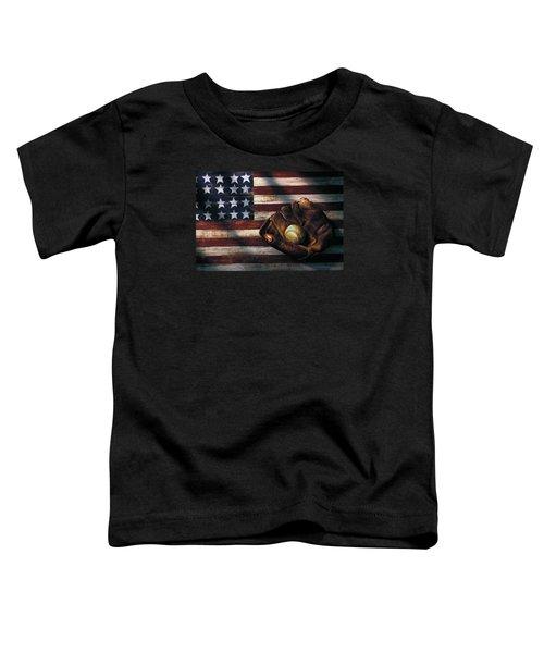 Folk Art American Flag And Baseball Mitt Toddler T-Shirt