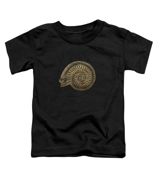 Fossil Record - Golden Ammonite Fossil On Square Black Canvas #2 Toddler T-Shirt