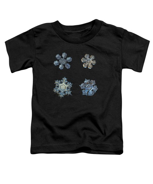 Four Snowflakes On Black 2 Toddler T-Shirt