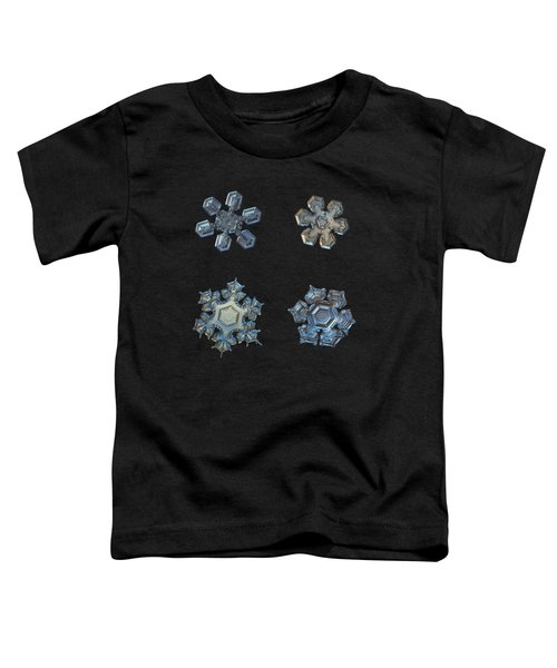 Four Snowflakes On Black 2 Toddler T-Shirt