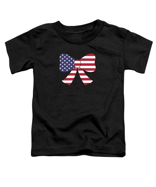 Fourth Of July Bow Usa Flag Gift Toddler T-Shirt
