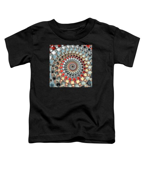 Fractal Spiral Red Grey Light Blue Square Format Toddler T-Shirt by Matthias Hauser