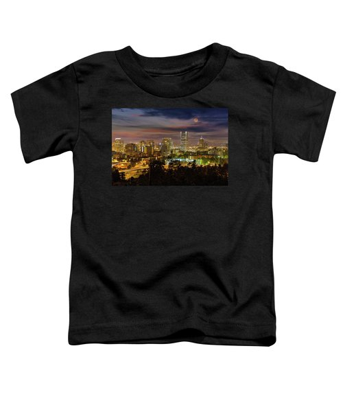 Full Moon Rising Over Downtown Portland Toddler T-Shirt