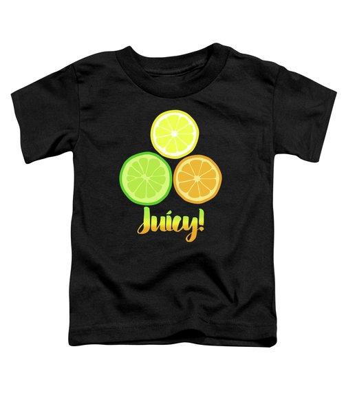 Fun Juicy Orange Lime Lemon Citrus Art Toddler T-Shirt by Tina Lavoie