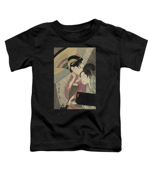 Geisha And Attendant On A Rainy Night Toddler T-Shirt