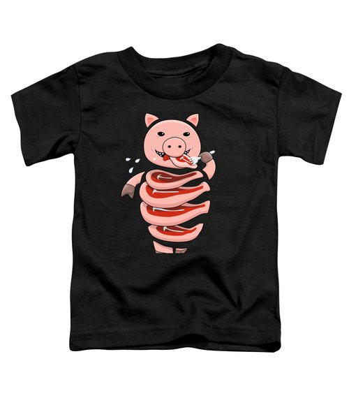 Gluttonous Self-eating Pig Toddler T-Shirt by Boriana Giormova
