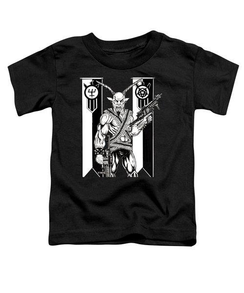 Goat War Black Toddler T-Shirt by Alaric Barca