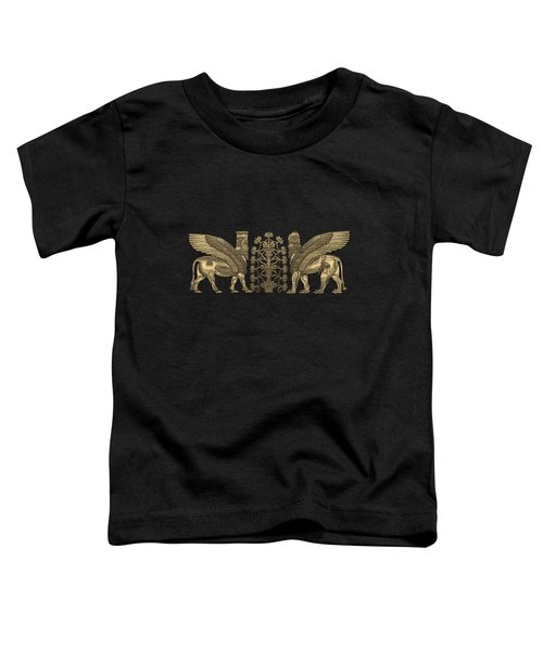 Gold Assyrian Winged Lion And Winged Bull - Lumasi With Tree Of Life Over Black Canvas Toddler T-Shirt