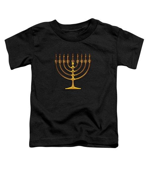 Golden 3-d Look Menorah  Toddler T-Shirt