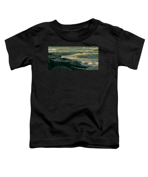 Golden Capped Sunset Waves Of Lake Michigan Toddler T-Shirt