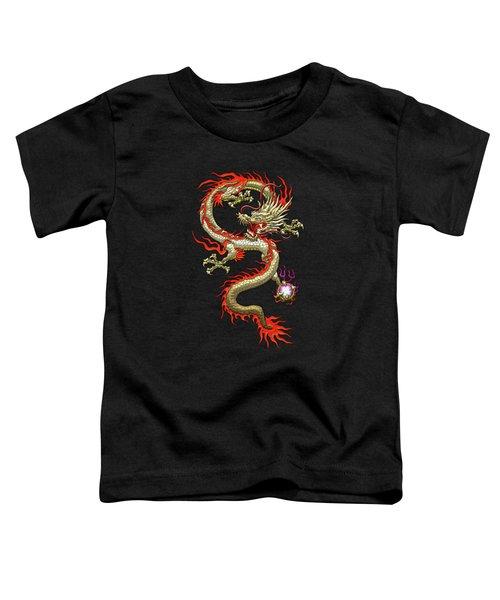 Golden Chinese Dragon Fucanglong On Black Silk Toddler T-Shirt