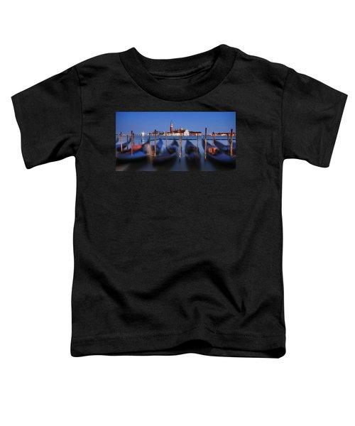 Gondolas And San Giorgio Maggiore At Night - Venice Toddler T-Shirt