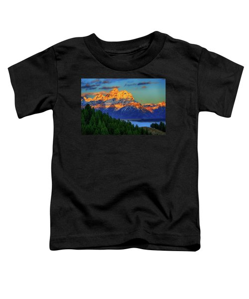 Toddler T-Shirt featuring the photograph Grand Teton Alpenglow by Greg Norrell