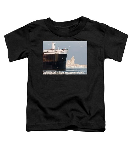 Great Lakes Ship Passing A Frozen Cleveland Lighthouse Toddler T-Shirt