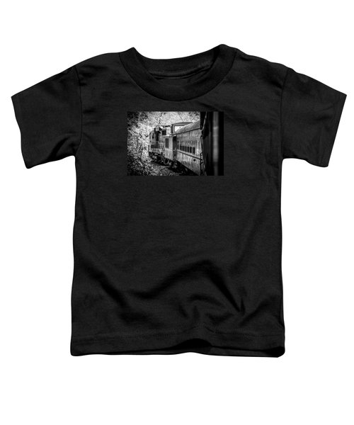 Great Smokey Mountain Railroad Looking Out At The Train In Black And White Toddler T-Shirt