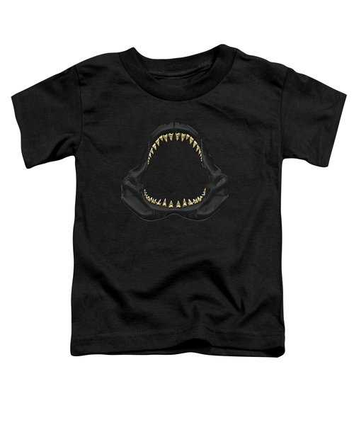 Great White Shark - Black Jaws With Gold Teeth On Black Canvas Toddler T-Shirt