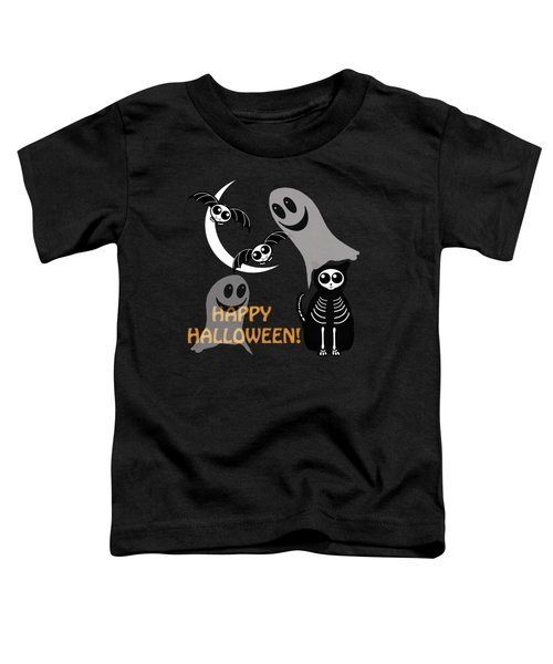 Halloween Bats Ghosts And Cat Toddler T-Shirt