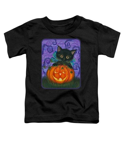 Halloween Black Kitty - Cat And Jackolantern Toddler T-Shirt