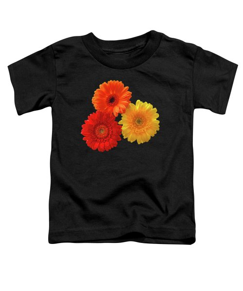 Happiness - Orange Red And Yellow Gerbera On Black Toddler T-Shirt by Gill Billington