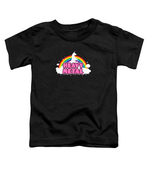 Heavy Metal Funny Unicorn  Rainbow Mosh Parody Design Toddler T-Shirt by Philipp Rietz