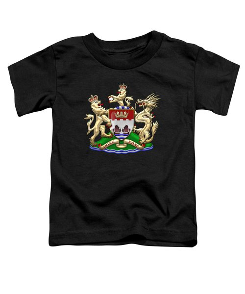 Hong Kong - 1959-1997 Coat Of Arms Over Black Leather  Toddler T-Shirt by Serge Averbukh
