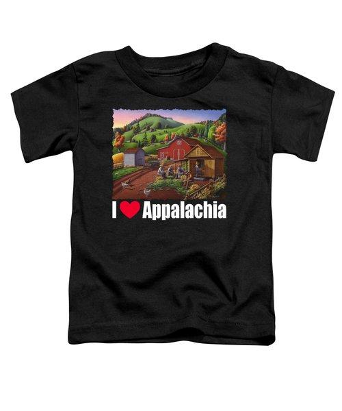 I Love Appalachia T Shirt - Farmers Shucking Corn And Storing In Corncrib 2 - Corn Crib Toddler T-Shirt