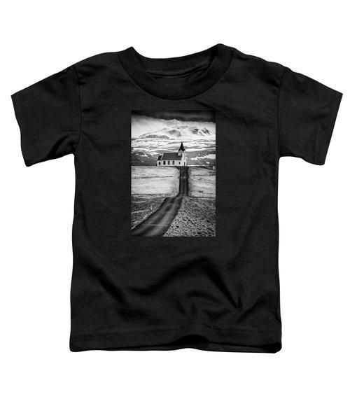 Iceland Ingjaldsholl Church And Mountains Black And White Toddler T-Shirt