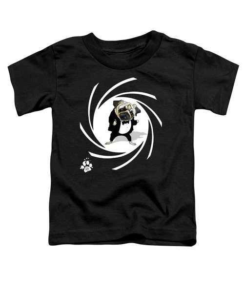 James Bond Pug Caricature Art Print Toddler T-Shirt