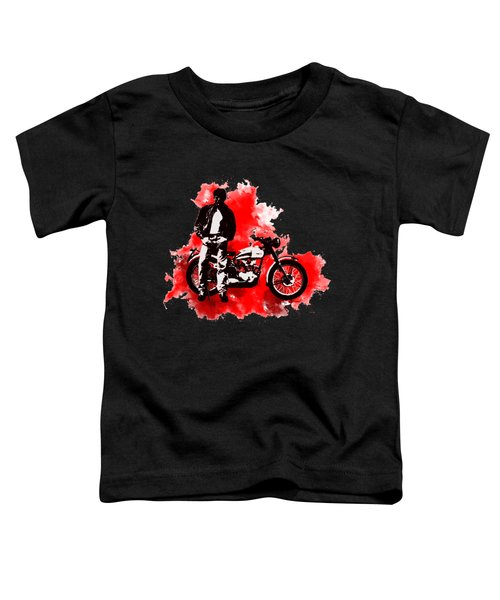 James Dean And Triumph Toddler T-Shirt by Marlene Watson