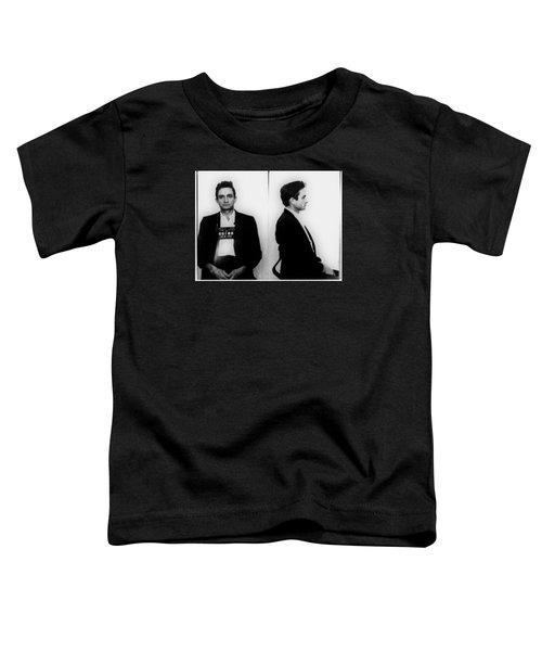 Johnny Cash Mug Shot Horizontal Toddler T-Shirt by Tony Rubino
