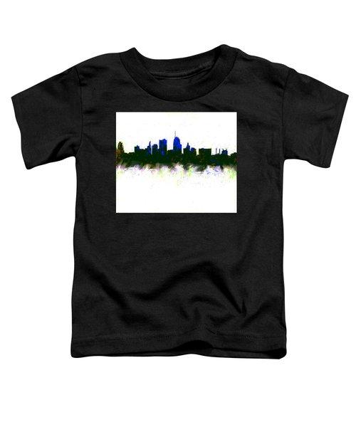 Kansas City Skyline Blue  Toddler T-Shirt by Enki Art