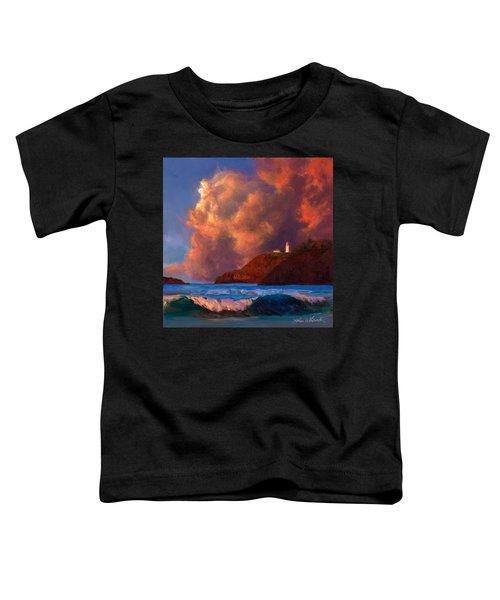 Kilauea Lighthouse - Hawaiian Cliffs Sunset Seascape And Clouds Toddler T-Shirt