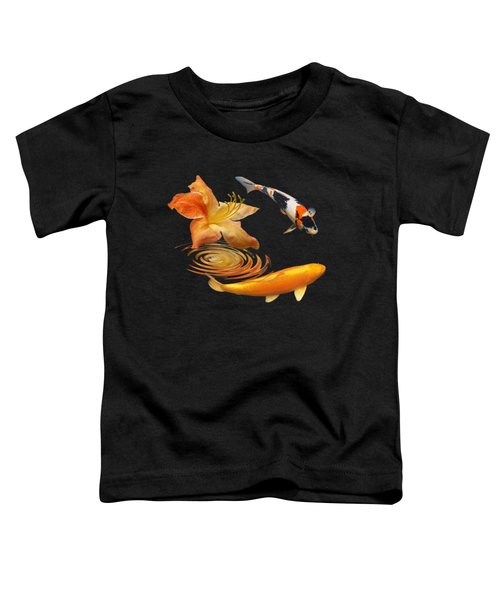 Koi With Azalea Ripples Square Toddler T-Shirt by Gill Billington