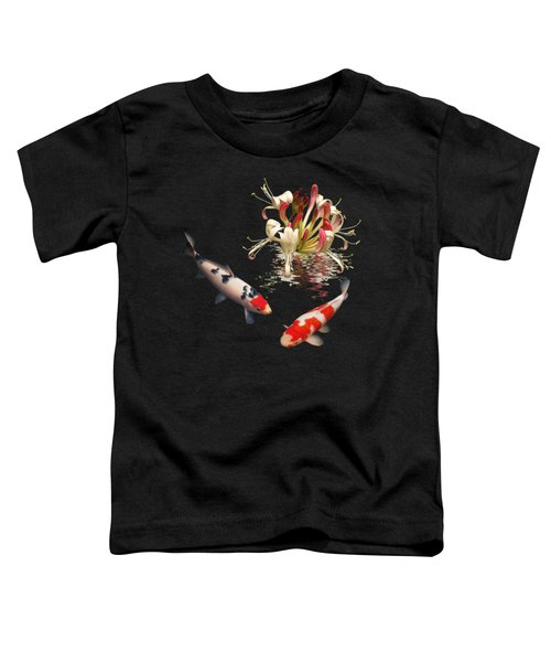 Koi With Honeysuckle Reflections Square Toddler T-Shirt by Gill Billington