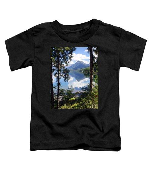 Lake Mcdlonald Through The Trees Glacier National Park Toddler T-Shirt