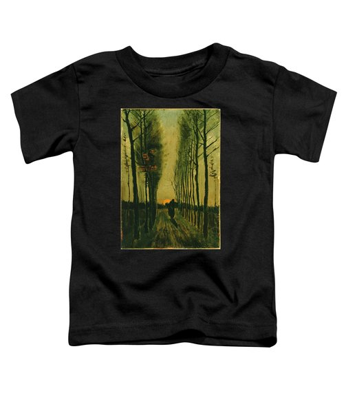 Toddler T-Shirt featuring the painting Lane Of Poplars At Sunset by Van Gogh