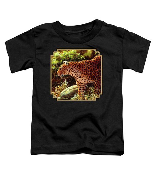 Leopard Painting - On The Prowl Toddler T-Shirt by Crista Forest