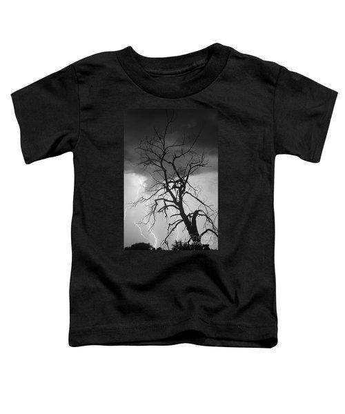 Lightning Tree Silhouette Portrait Bw Toddler T-Shirt