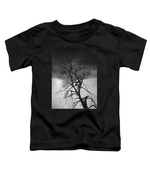 Lightning Tree Silhouette Portrait Bw Toddler T-Shirt