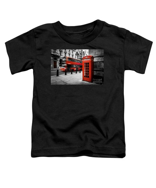 London Bus And Telephone Box In Red Toddler T-Shirt