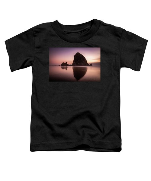 Long Exposure Of Haystack Rock At Sunset Toddler T-Shirt