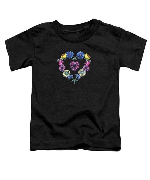 Lovely Flowers Black Toddler T-Shirt