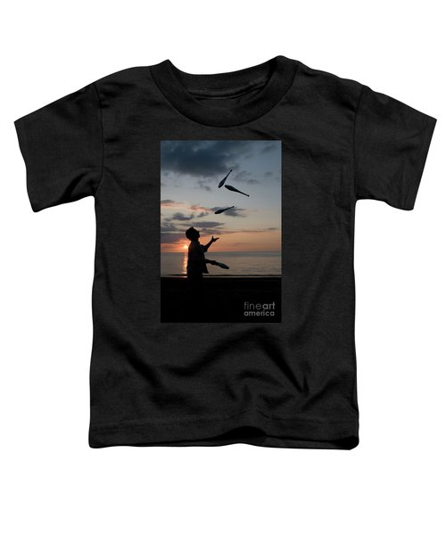 Man Juggling With Four Clubs At Sunset Toddler T-Shirt